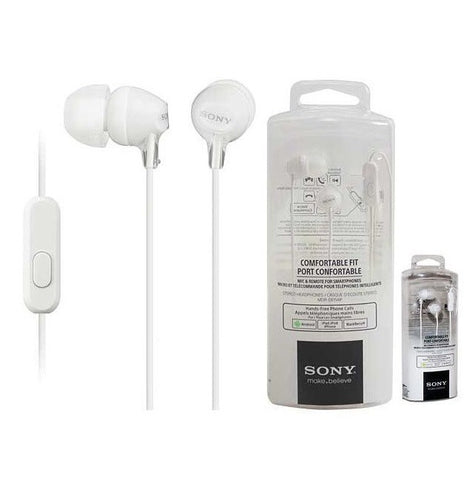 Retail Pack OEM Sony MDR-EX15AP In Ear Earbud Headphones w/Mic White 3.5mm Jack