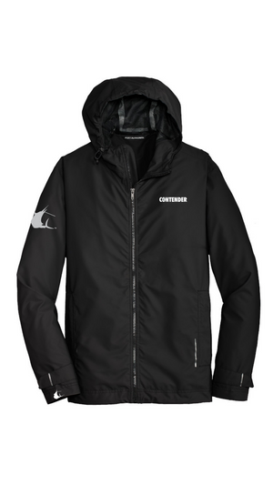 Contender Black Hooded Slicker Jacket