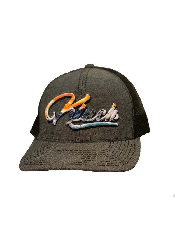 Kluch Logo Puff Embroidery Heather Black Velcro Trucker Hat