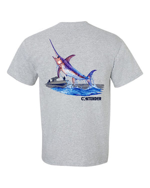 Contender Jumping Swordfish Short Sleeve Grey Cotton T Shirt