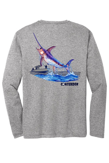 Contender Jumping Swordfish Heather Grey Long Sleeve Performance T Shirt