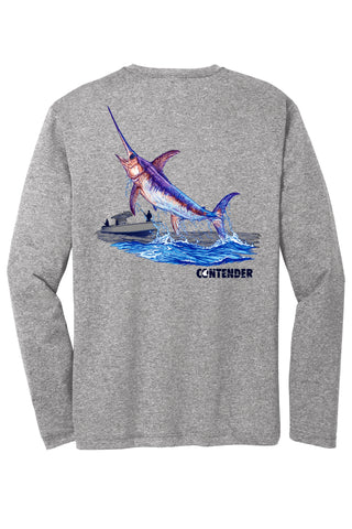 Contender Jumping swordfish heather grey long Sleeve Performance