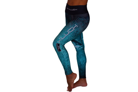 Kluch Tuna Topography Womens Teal Leggings