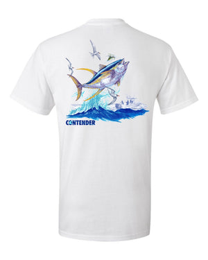 Contender Jumping Yellowfin Tuna White Short Sleeve T Shirt