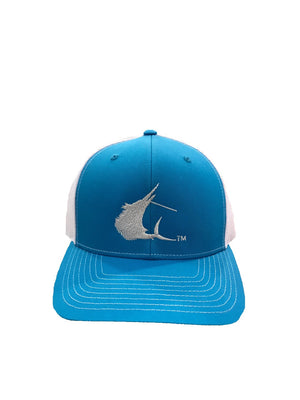 Contender Sailfish Icon Cyan/White Trucker Snapback Hat