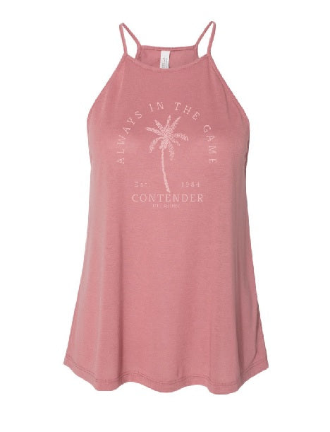 Contender Offshore Palm Tree Womens Mauve Tank Top