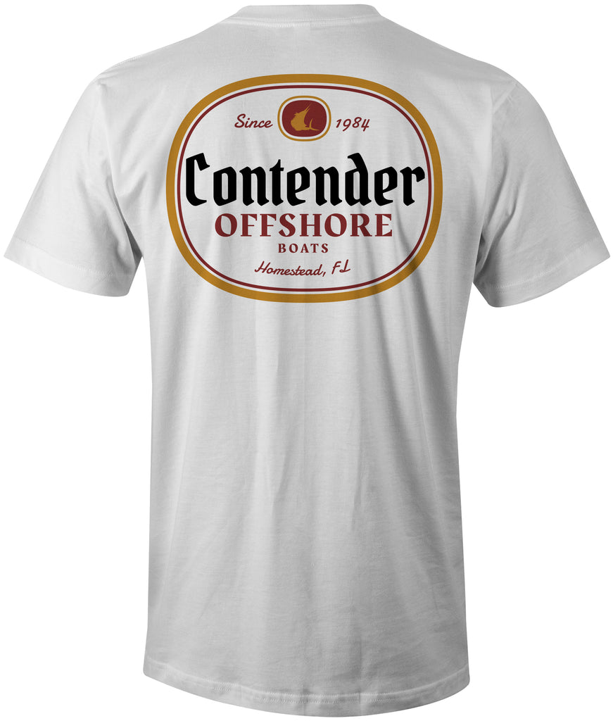 Contender Offshore Beer Label Pocket Tee