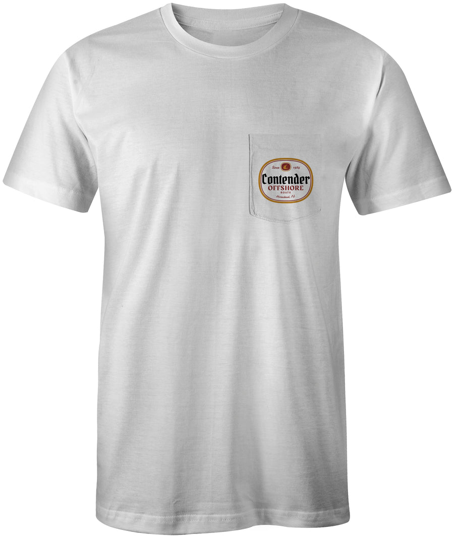 Contender Offshore Beer Label White Pocket T Shirt
