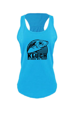 Kluch Womens Gog Gathered Racerback Turquoise Tank Top