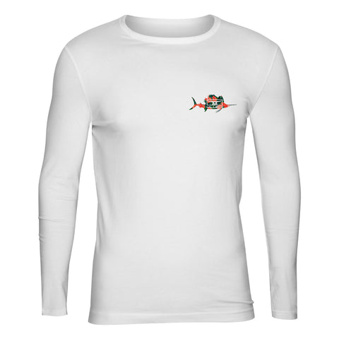 Kluch Floral White Sailfish Performance Long Sleeve T Shirt