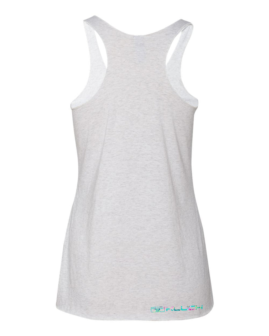 Kluch Womens Floral Frigate Racerback Heather White Tank Top