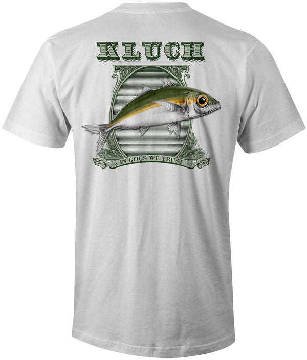 "Kluch ""In Gogs We Trust"" Pigment Dyed White Short Sleeve w/Pocket"