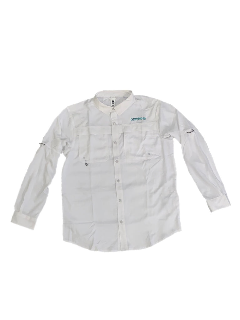 Contender White Long Sleeve Button Down Fishing T Shirt