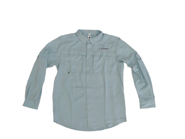 Contender Ice Blue Long Sleeve Button Down Fishing T Shirt