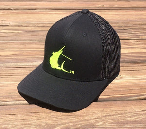 Contender High Vis Sailfish Icon Black Flexfit Hat