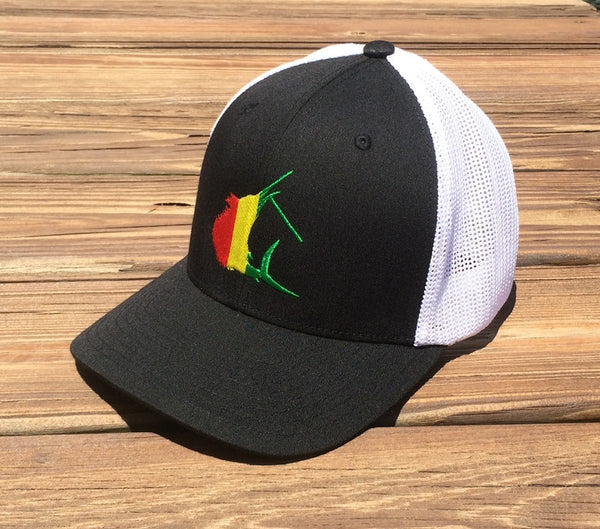 Contender Rasta Sailfish Icon Black/White Flexfit Hat