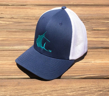 Contender Teal Sailfish Icon Navy/White Flexfit Hat
