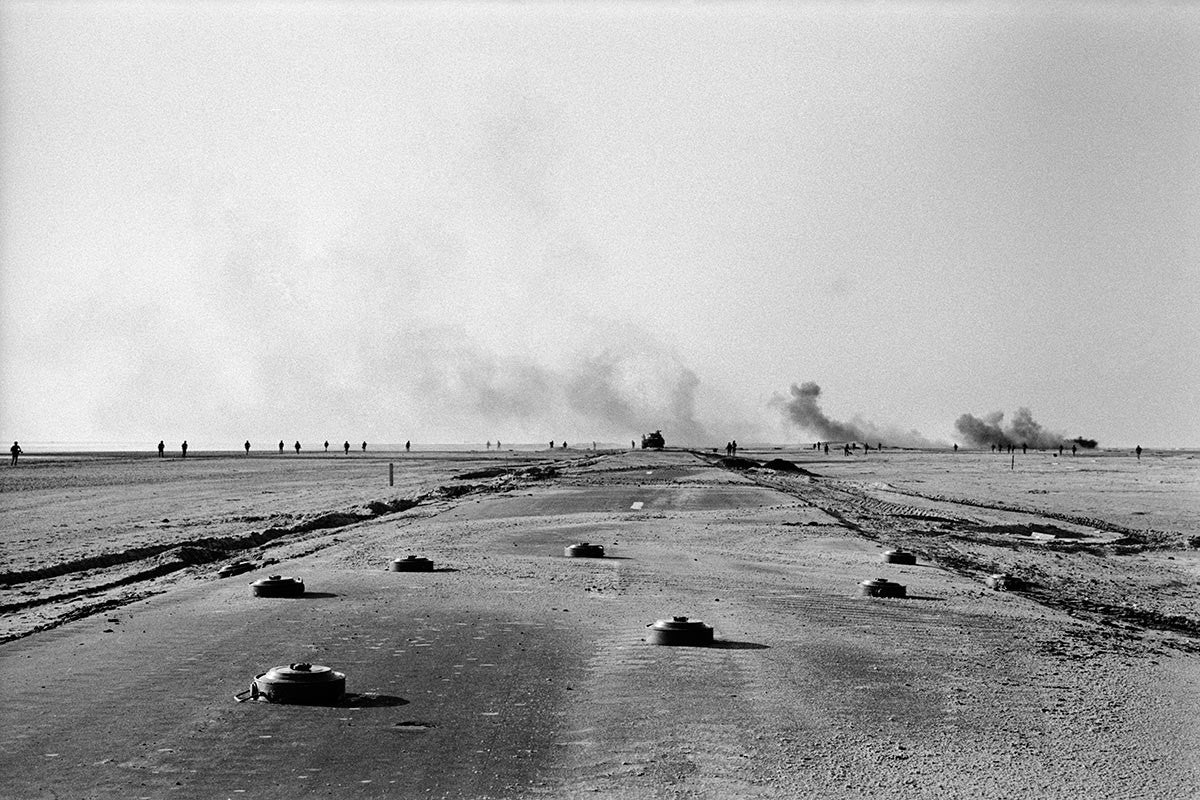 Road covered with anti-vehicle mines during the Yom Kippur War. Israel, 1973.