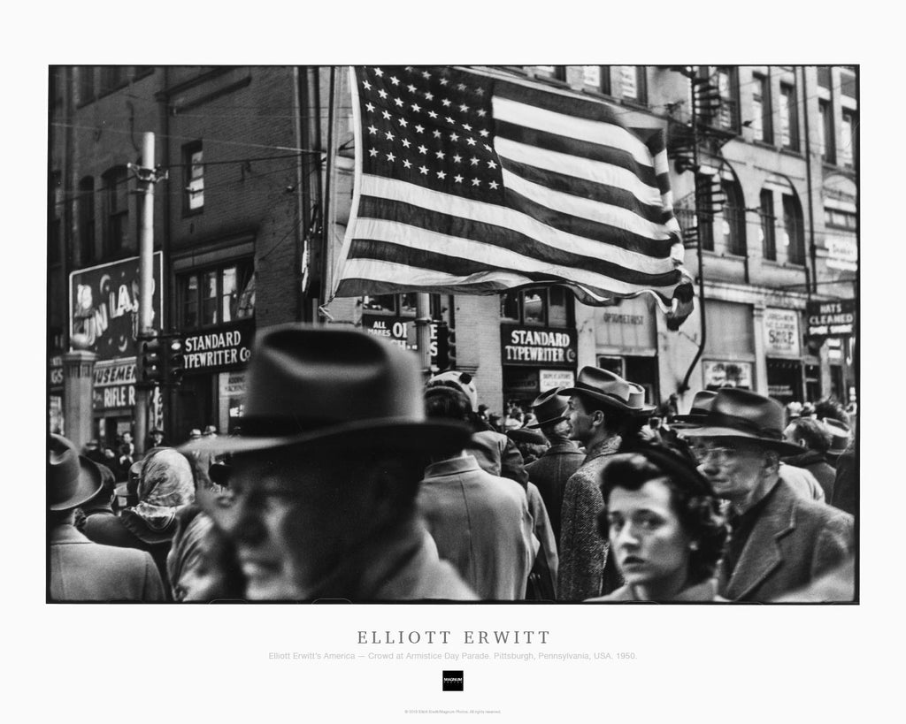 Magnum Collection Poster: Elliott Erwitt's America — Crowd at Armistice Day Parade. Pittsburgh, Pennsylvania, USA. 1950.
