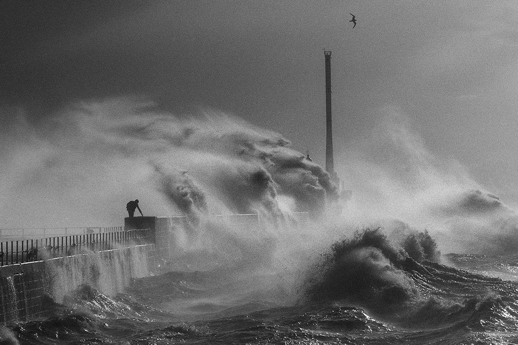 Seine-Maritime department. Waves in Le Havre. France. 1984.