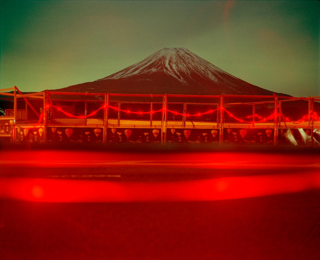 Road works and Fuji near Kawaguchiko. Japan. 1999.