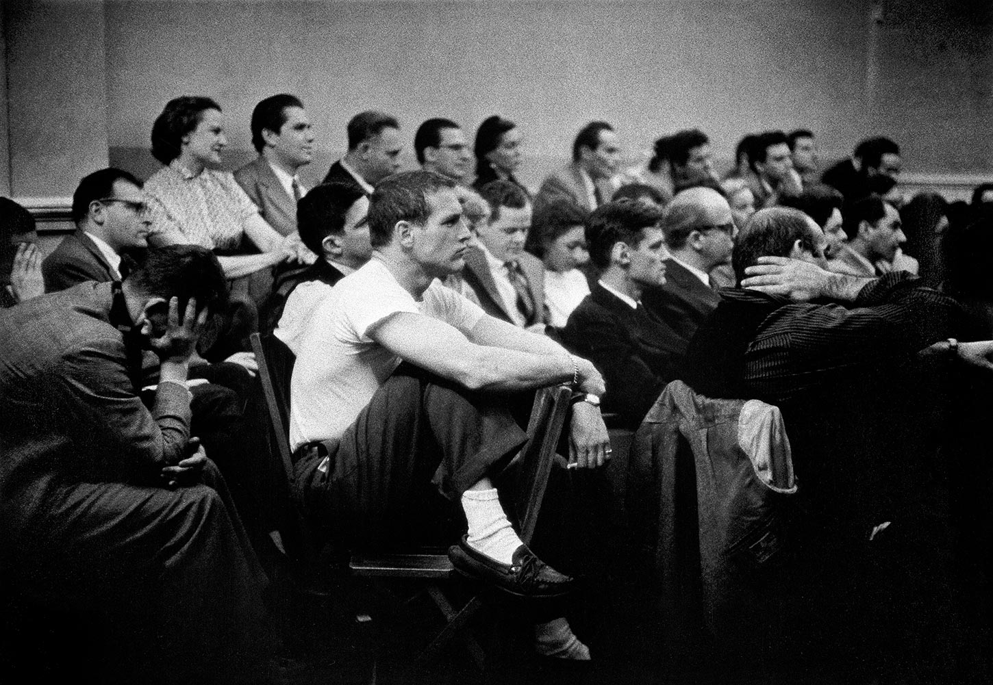 American actor Paul Newman at The Actors Studio. New York City, USA. 1955.