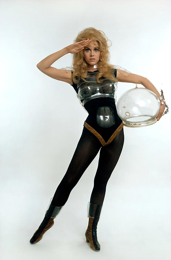 "Jane Fonda, in publicity shots for ""Barbarella"