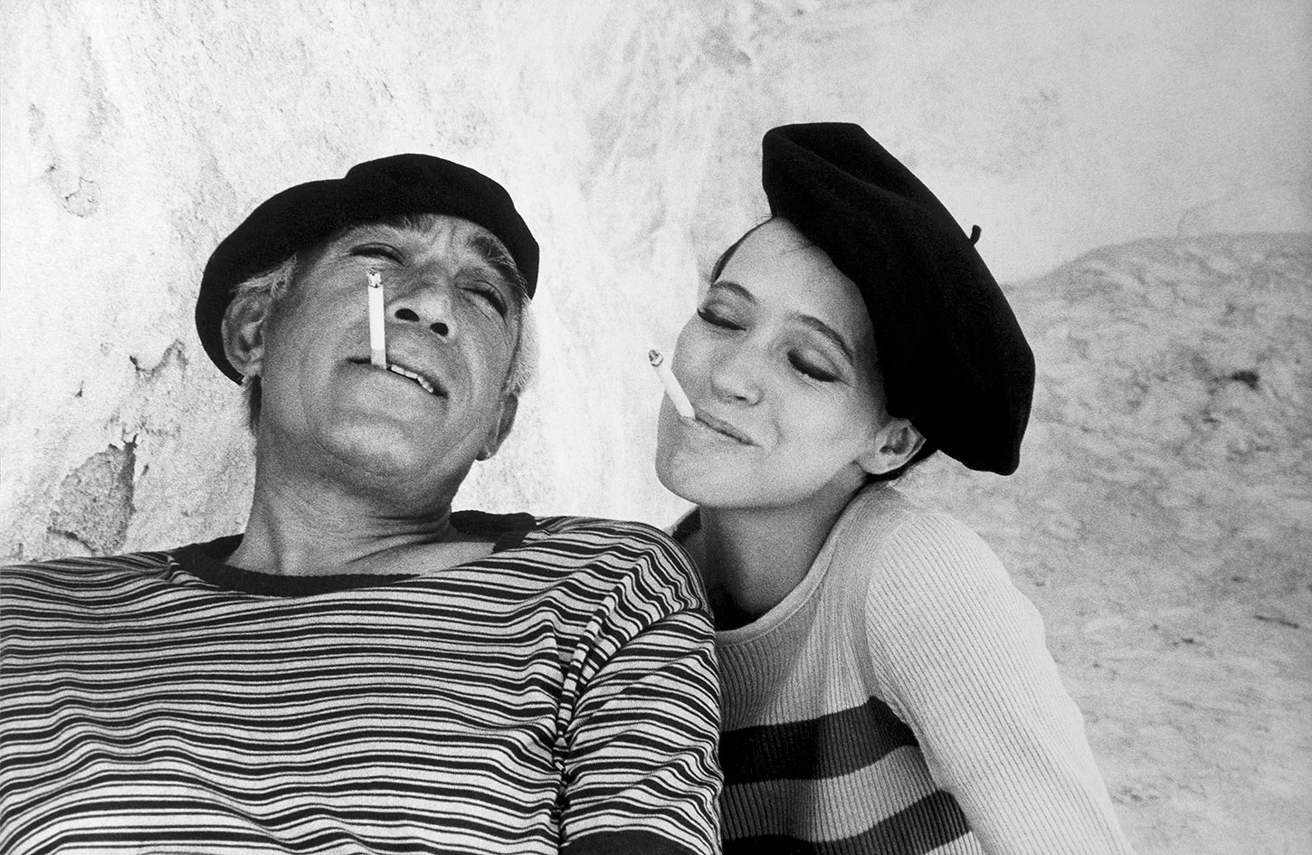Anthony Quinn and Anna Karina on the set of The Magus. Mallorca, Spain. 1976.