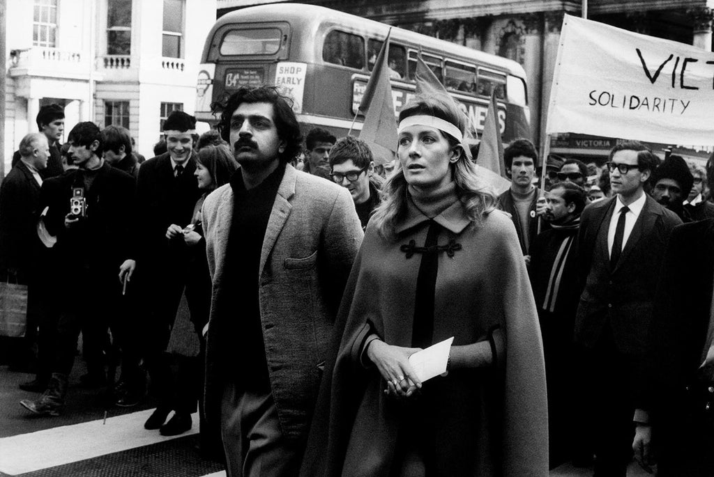 Tariq Ali and Vanessa Redgrave during an anti-Vietnam War march in London. 1968.