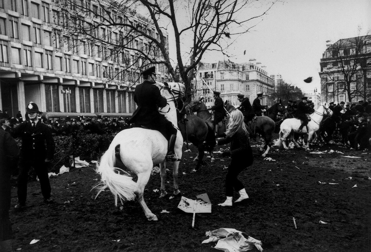 Anti-Vietnam War riots in front of the American Embassy in London. 1968.
