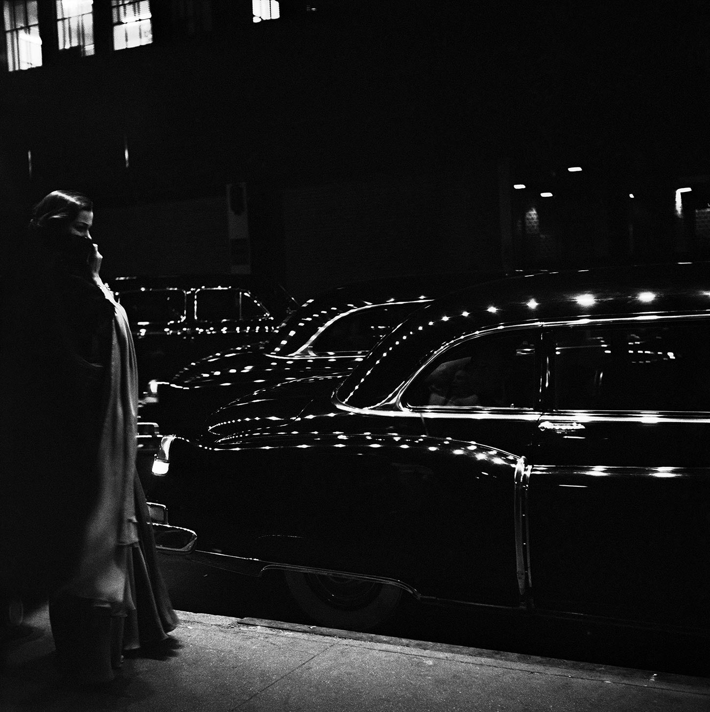 Outside a premiere at the Metropolitan Opera  in New York, 1950.