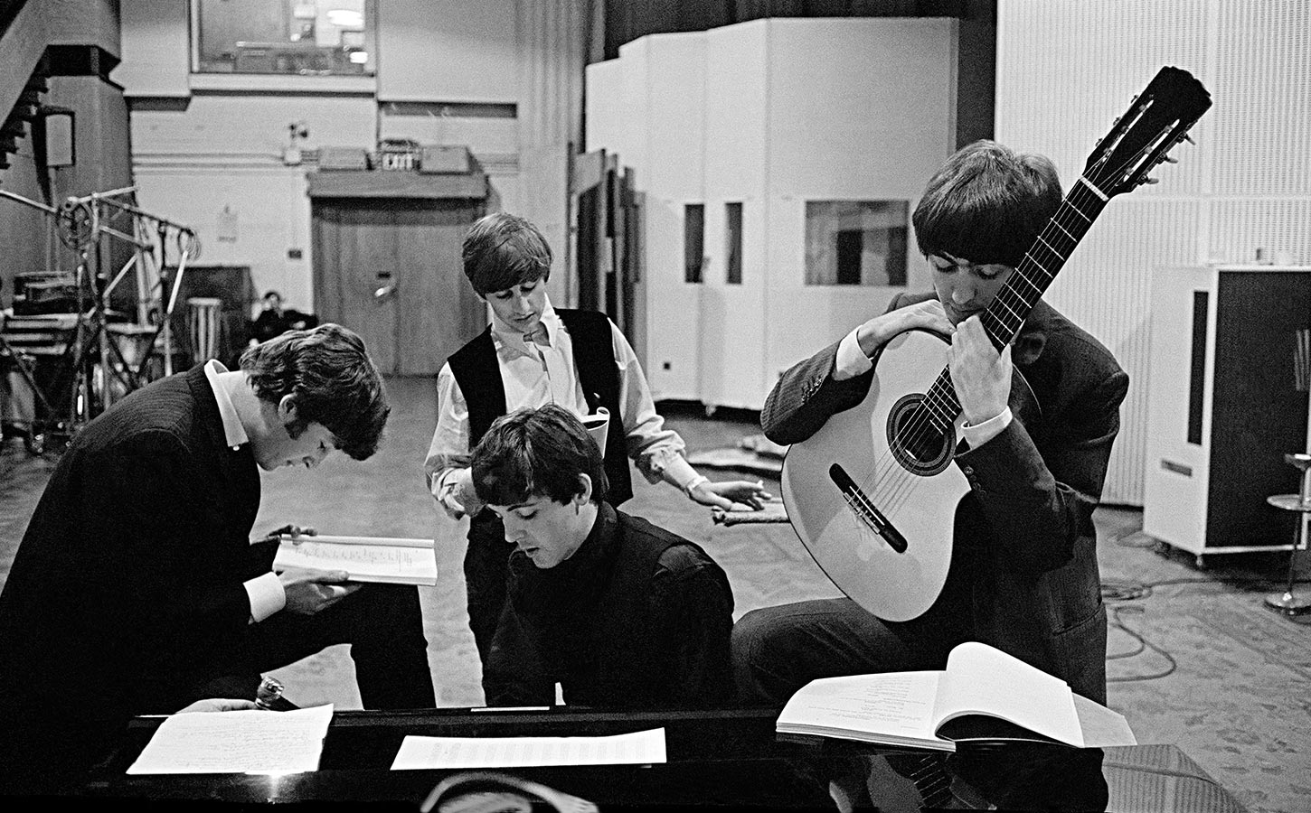 The Beatles in EMI (later Abbey Road) Studios. London, England. 1964.