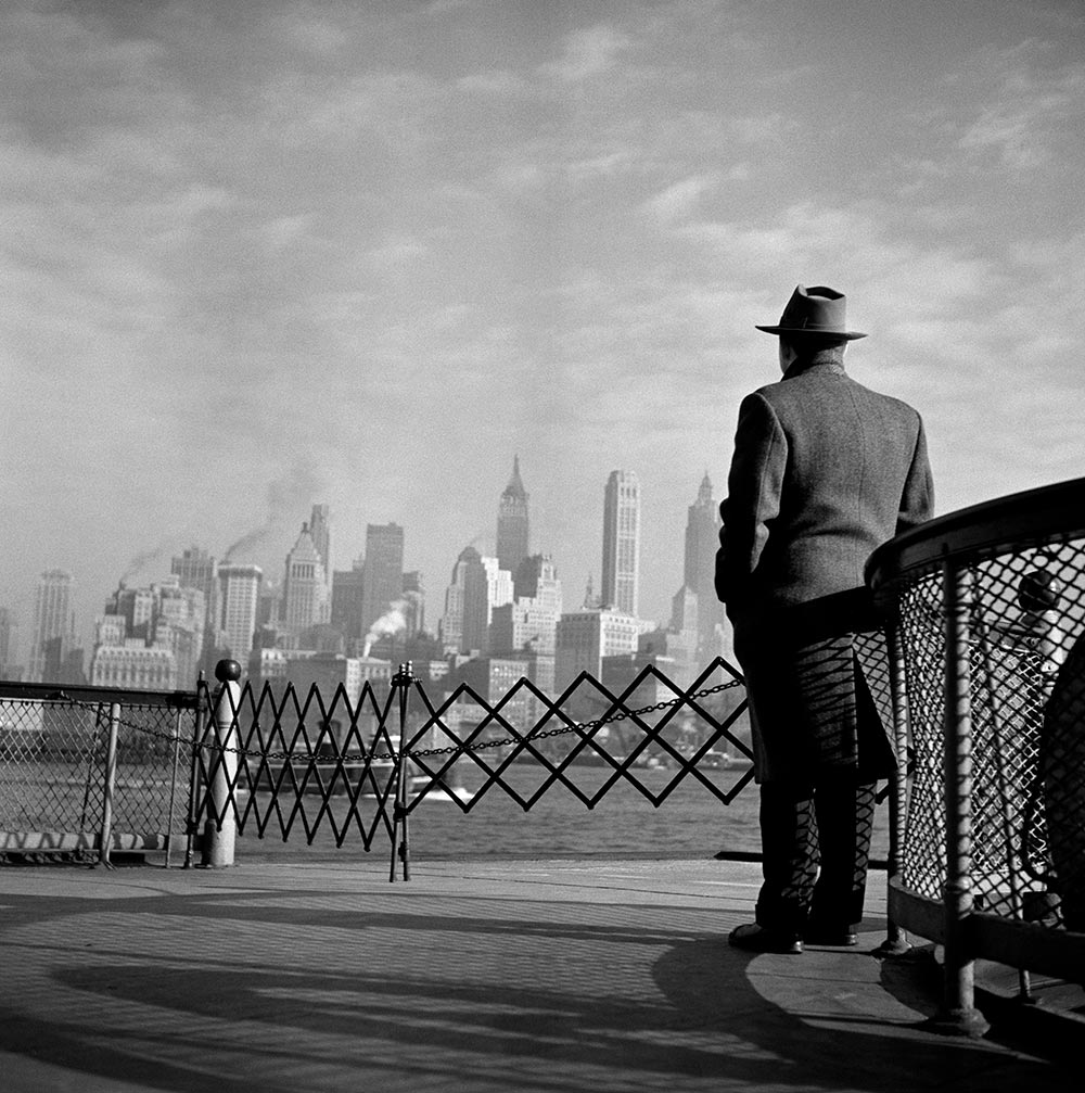 View of Lower Manhattan from the Staten Island Ferry. New York City. 1951.