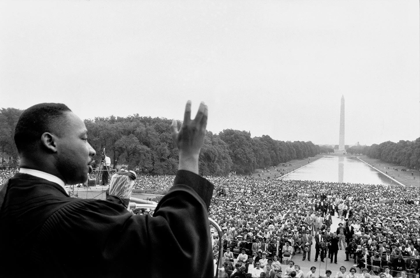Martin Luther King speaking to crowds at the Prayer Pilgrimage for Freedom. Washington, 1957.