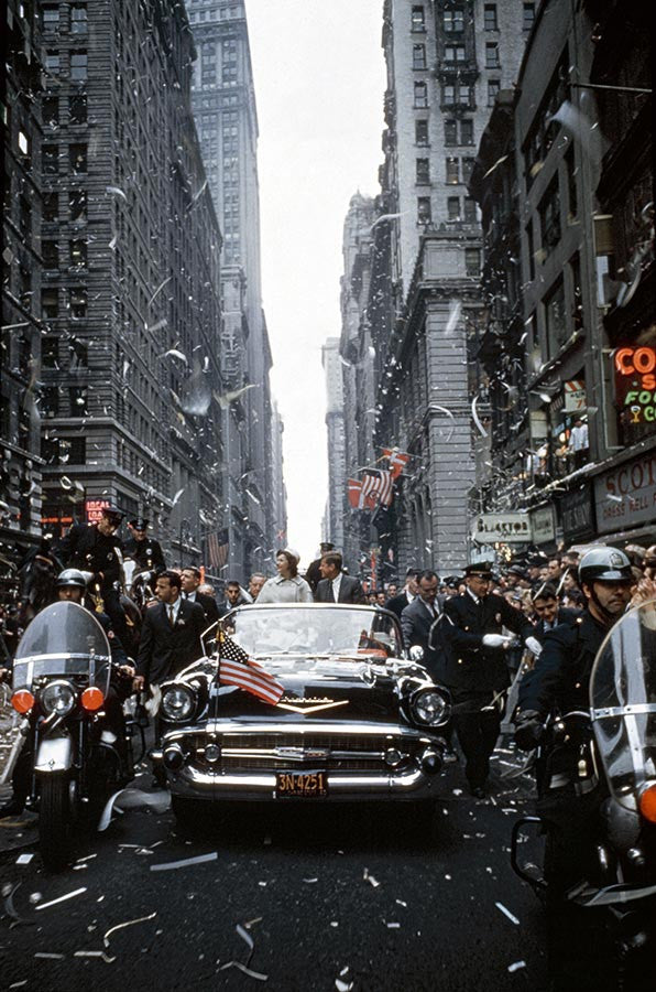 John F Kennedy and Jacqueline Kennedy at a parade in New York. 1960.