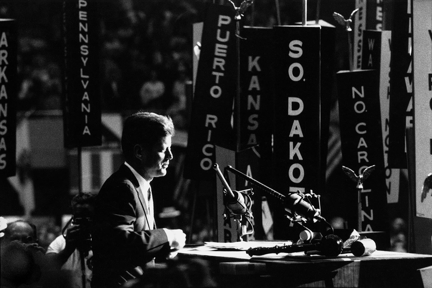 John F. Kennedy accepting the nomination at the Democratic Convention. Los Angeles, 1960.