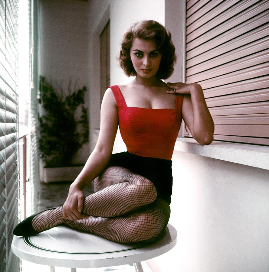 Sophia Loren at home. Rome, Italy. 1955.