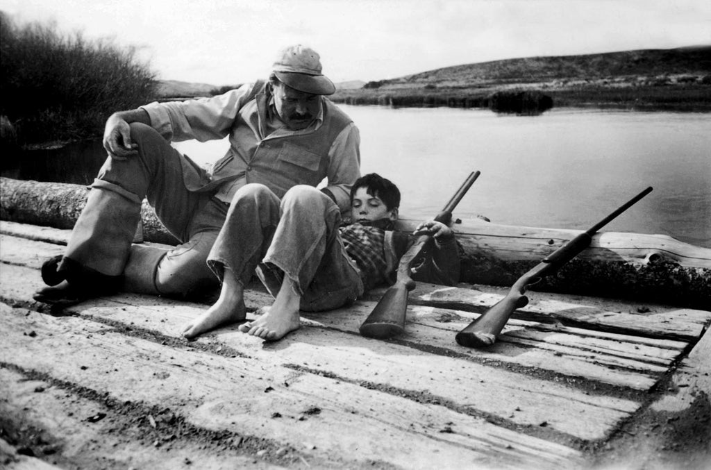 Ernest Hemingway with his son Gregory. Sun Valley, Idaho, USA. 1941.