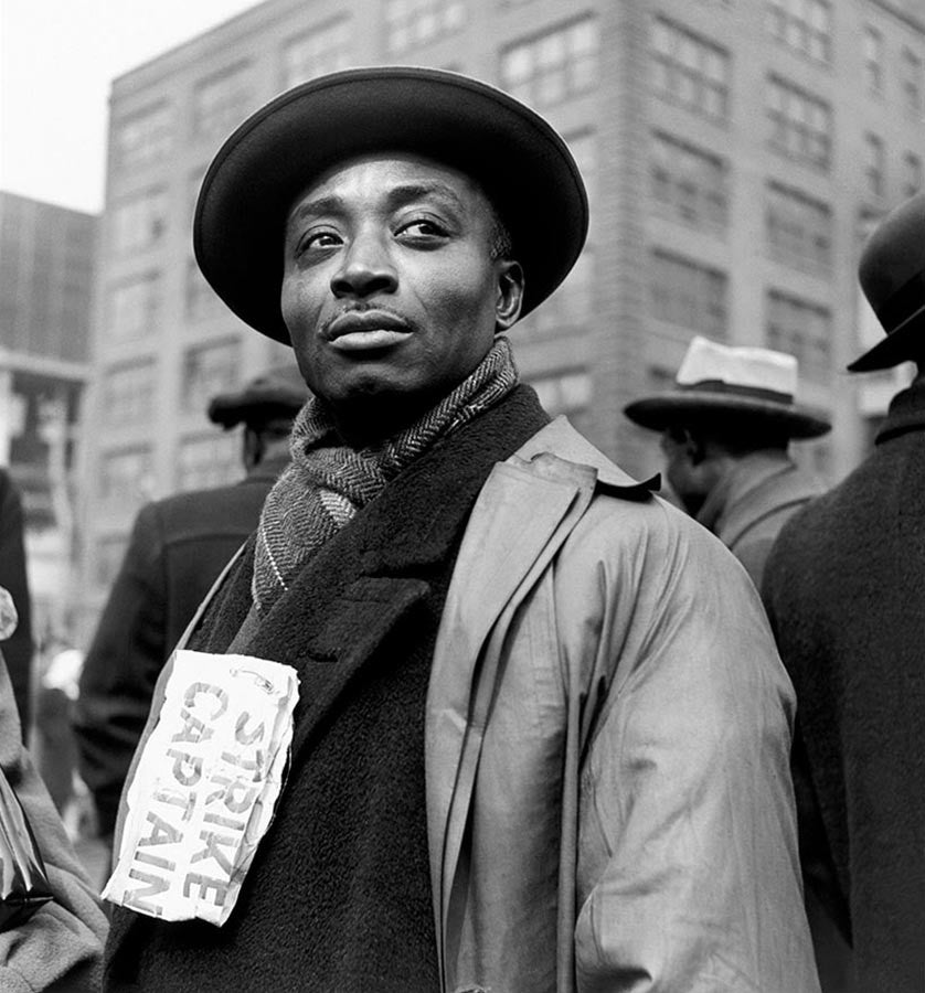 Strike captain during a protest by the packing house workers. Chicago, Illinois. 1948.