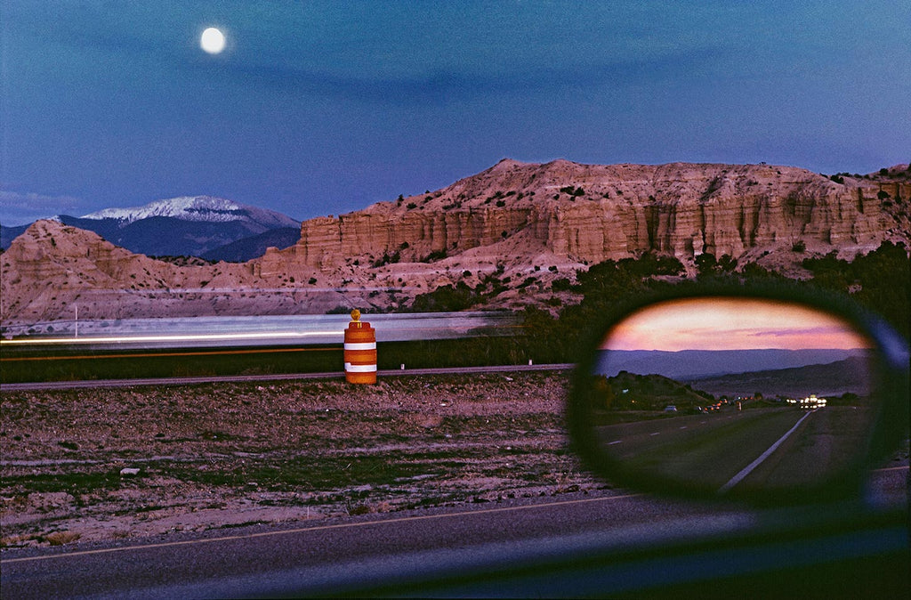 Moonrise along the Albuquerque-Santa Fe highway. New Mexico, USA. 1985.