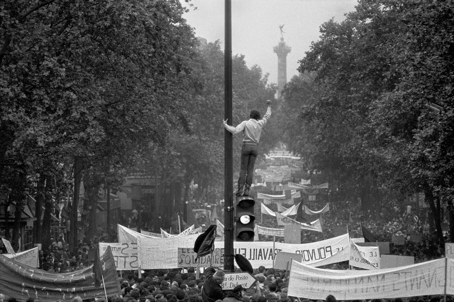Worker and student demonstration from Republique to Denfert-Rochereau in Paris. May, 1968.