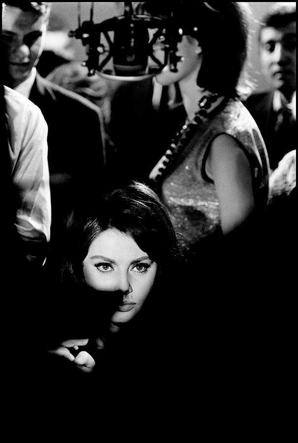 Sophia Loren during the filming of