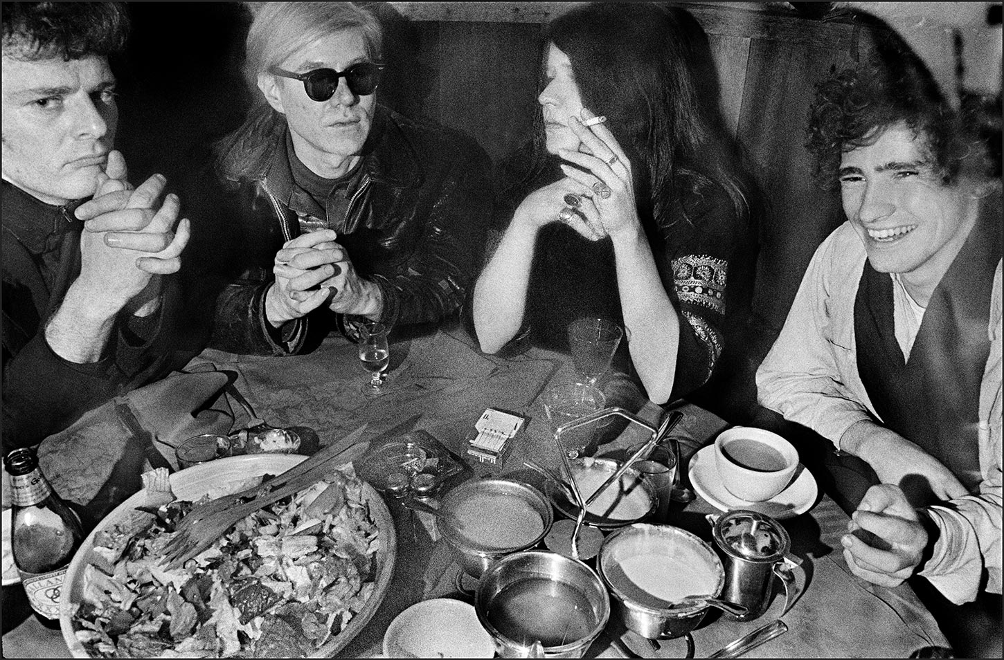 Paul Morissey, Andy Warhol, Janis Joplin, and Tim Buckley at Max's Kansas City. New York City. 1968.