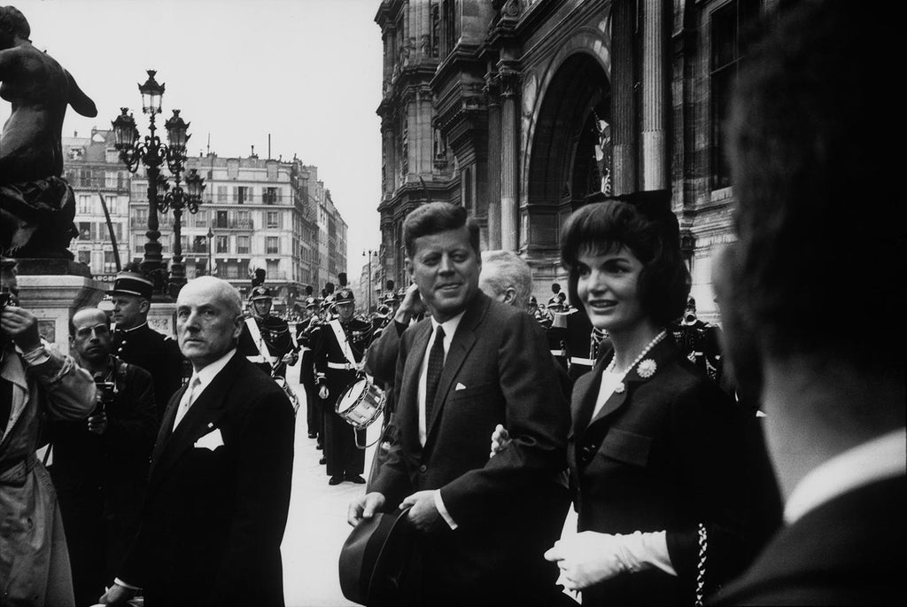 John F. Kennedy and his wife Jacqueline in Paris, 1961.