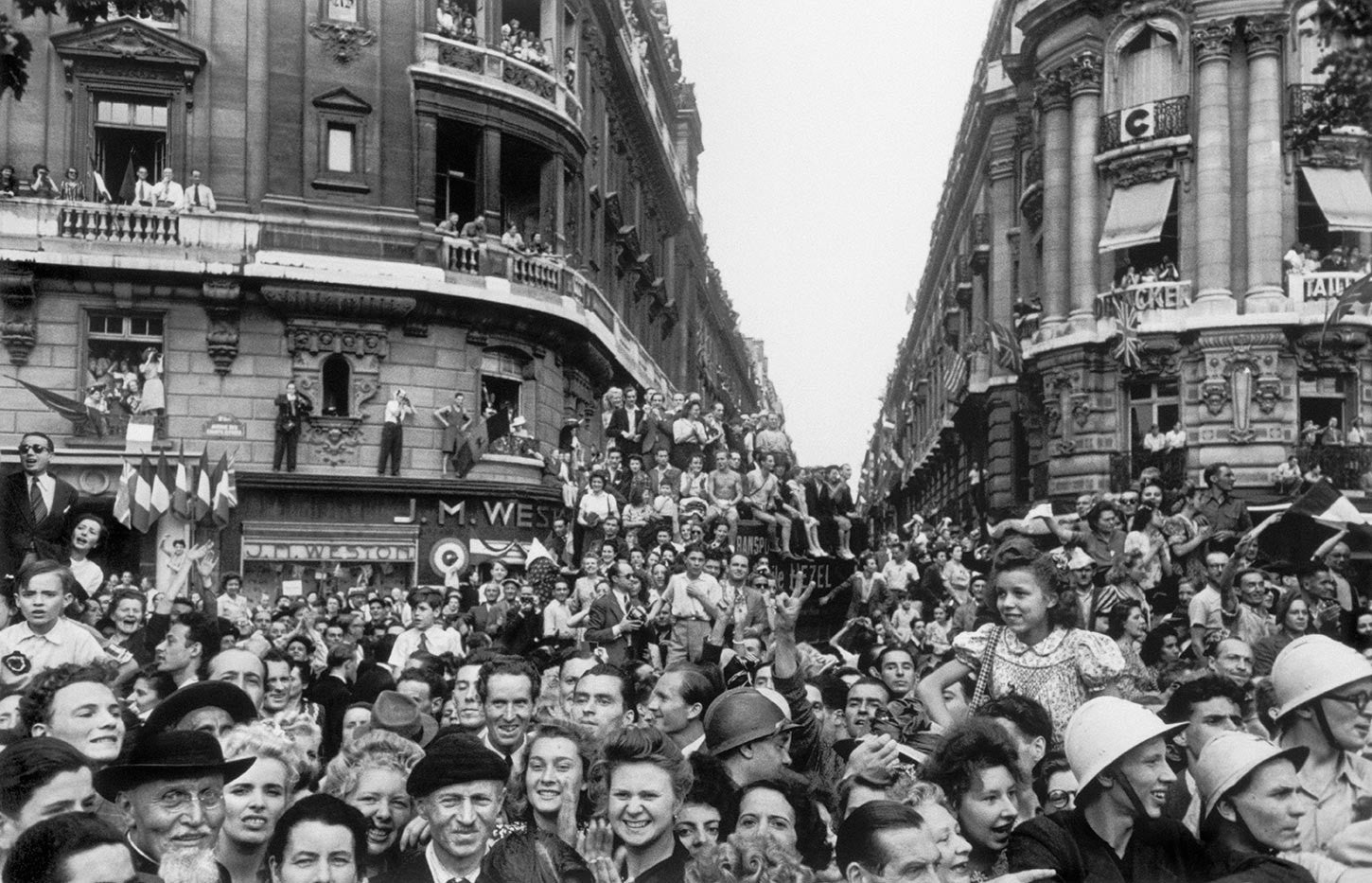 Crowds celebrating the liberation of Paris. France. August 25th, 1944.