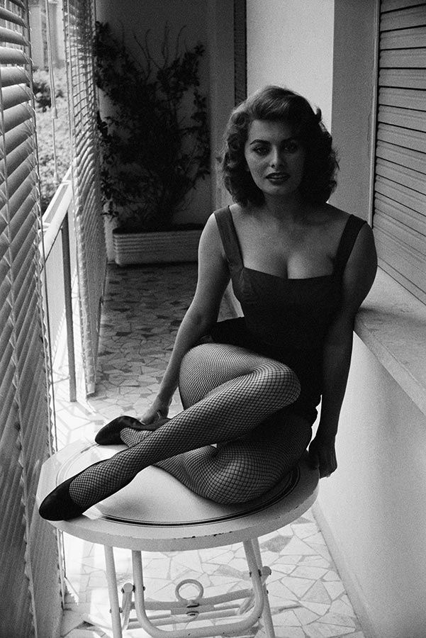 Sophia Loren at her home. Italy. 1955.
