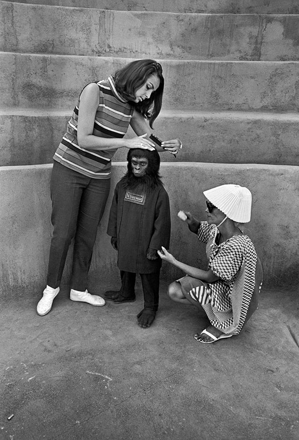 On the set of the filming Planet of the Apes. Hollywood, California. 1967.