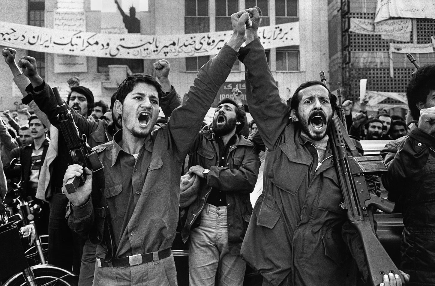 Armed militants outside the United States Embassy. Tehran, Iran. 1979.