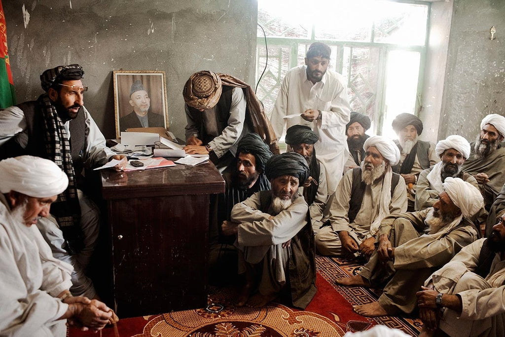Meeting of local elders in Marja's district center. Helmand Province. Afghanistan. 2010.