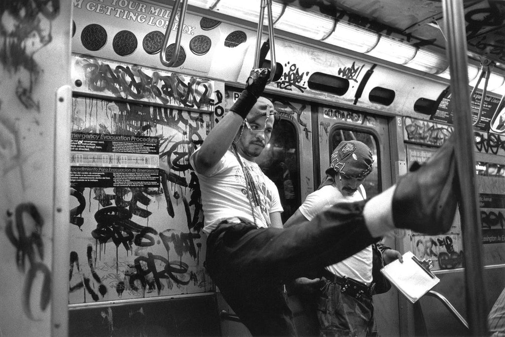 Guardian angels in the underground. New York City. 1985.